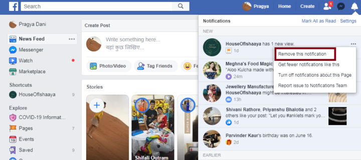 Clear Facebook Notification