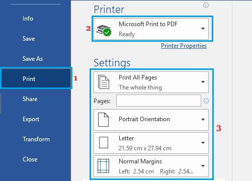 Print to PDF in Microsoft Word