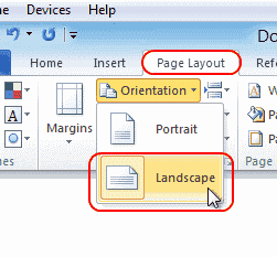 Make One Page Landscape